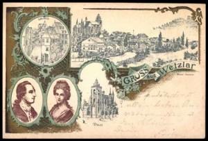 Korabeli levelezőlap Buff kisasszony és Goethe portréjával