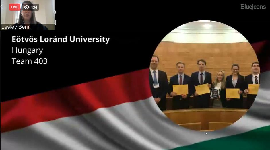 Az ELTE idén ismét a világ legjobb egyetemei közé tudott kerülni a híres Jessup perbeszédmondó versenyen is. A csapat tagjai: Boa Patrik, Farkas Luca, Koncsik Marcell és Varga Kálmán.